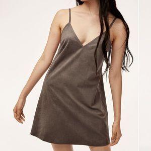Aritzia Wilfred Free Vegan Suede Gray Mini Dress!